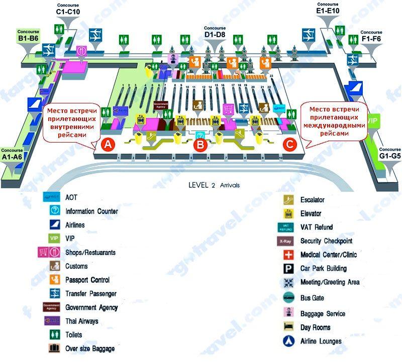Аэропорт бангкока схема вылета
